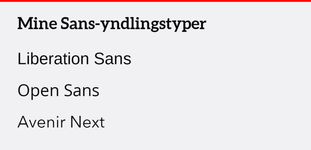 Sans Serif skrifttype