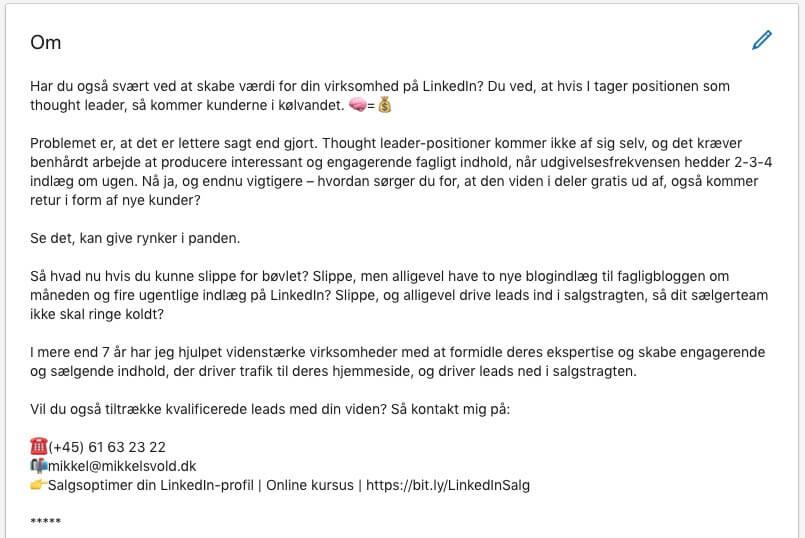 Eksempel på en god Om-tekst til din LinkedIn-profil